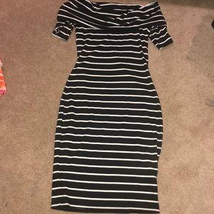 Juicy Couture off-shoulder black striped dress-XS
